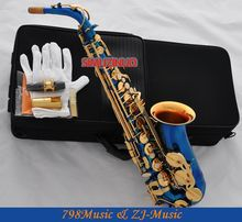 Blue Lacquer Gold  and Gold Bell Eb Alto Saxophone High F# Key-Pearl Bottons