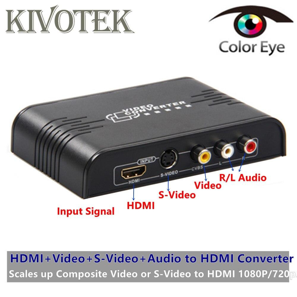 KIVOTEK Chaude CVBS Composite Vidéo S-Vidéo à HDMI Adaptateur Scaler Analogique Audio Vidéo à HDMI1080P Connecteur Sortie Pour HDTV Jeux.