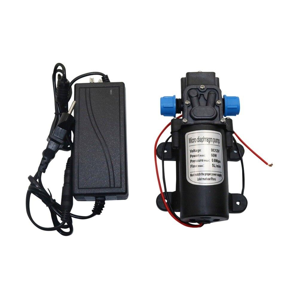 DC 12V 60W 5L/min Agricultural Electric Water Pump 18mm Thread Black Micro High Pressure Diaphragm Pump Water Sprayer Car Wash