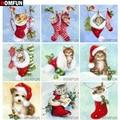 Алмазная живопись HOMFUN «сделай сам», картина «рождественские животные», алмазная вышивка 5D с квадратными и круглыми стразами, украшение для ...