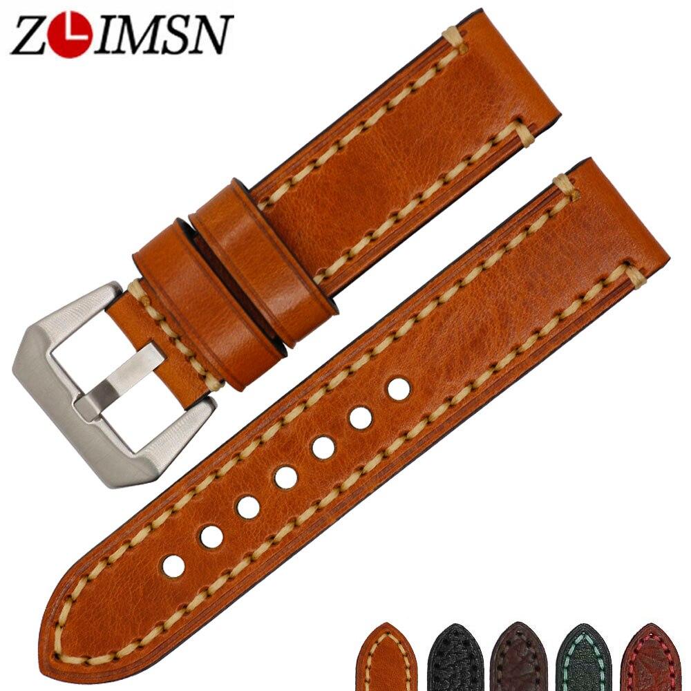 ZLIMSN New Vintage Genuine Leather Watch Bands Strap For Panerai 20mm 22mm 24mm 26mm Men's Clock Accessories Watchband