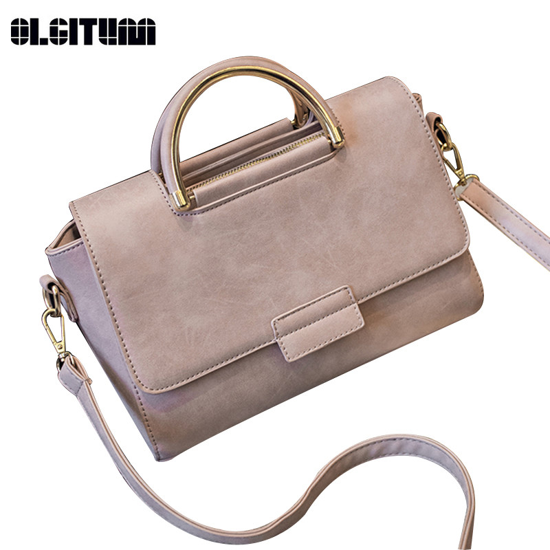 Olgitum 2018 Новый Для женщин сумка Для женщин модная сумка Nu Buck сумки Высокое качество Средняя сумка зима HB120 ...
