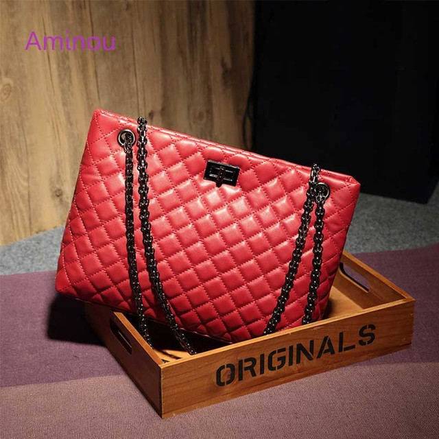 2018 Luxury Brand Women Plaid Bags Large Tote Bag Female Handbags Designer Black Leather Big Crossbody Chain Messenger Bag Girl 5