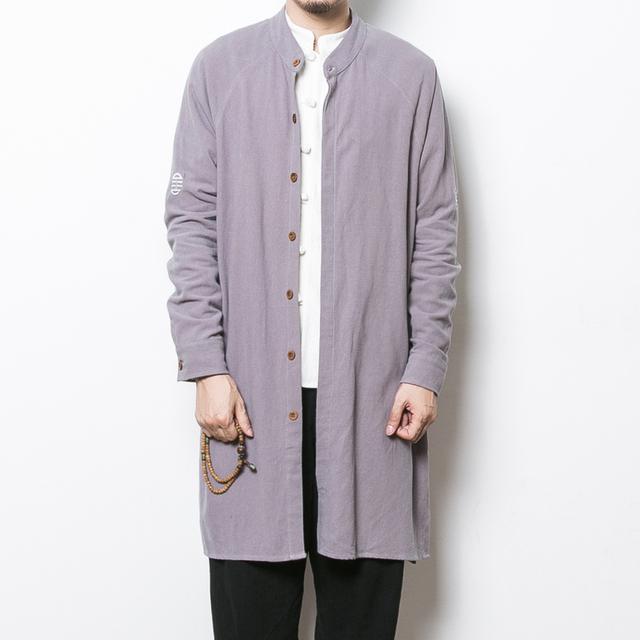 2017 primavera new mens trench coat china estilo de linho de algodão dos homens longo cardigan outono masculino roupas casuais trincheira solto jaqueta