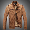 Men Motorcycle Biker Jackets Brown Mens Winter PU Leather Jacket Cotton High Neckline Men Coat Slim Fit 2016 Men Winter Jacket