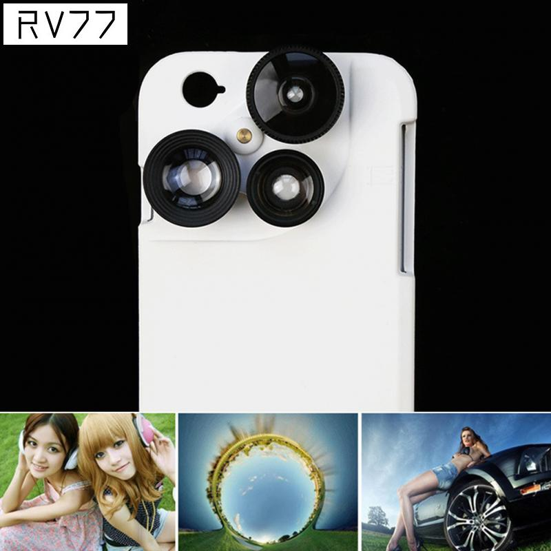 Luxurious 4 In 1 Lens with Mobile Phone Back Case For iPhone 6 6 S 7 Plus Wide Angle Fisheye Macro Camera Lens