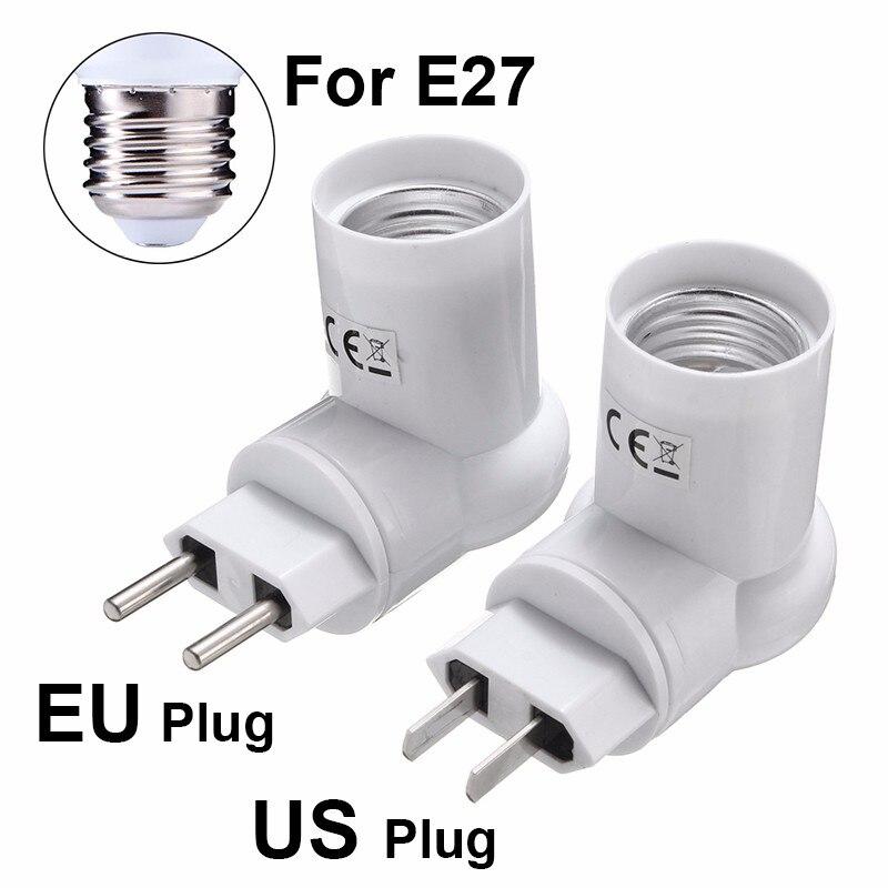 Jiguoor Lamp Base E27 Adapter Converter Socket Lamp Base Holder For LED PIR Motion Sensor Light Lamp Bulb AC110-240V EU/US Plug pir motion sensor lamp holder 180 240v