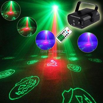 Eshini Мини R & G Лазерный 24 Хэллоуин шаблон проектор синий Led бар DJ танцевальный праздник диско вечерние эффект светильник ing светильник Show T123D4
