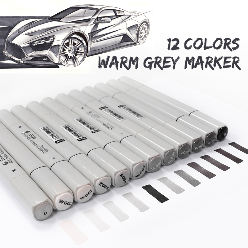 12 Colors Warm Grey Professional Grayscale Marker Pen Set ...