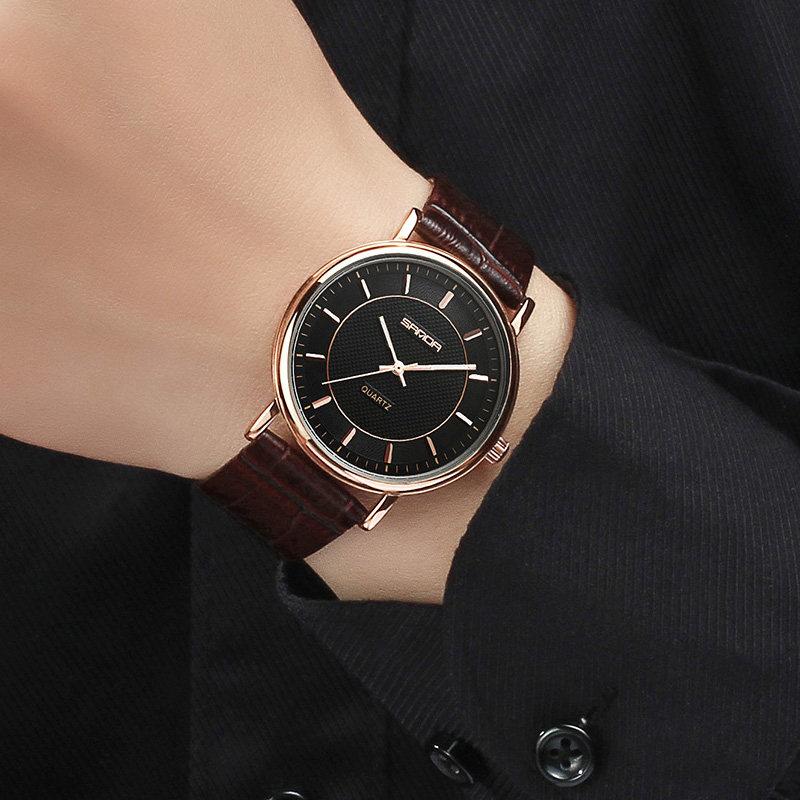 3b3f0cb9f0c SANDA Super Fino Relógio Dos Homens de Couro Moda Casual Relógios de Pulso  À Prova D