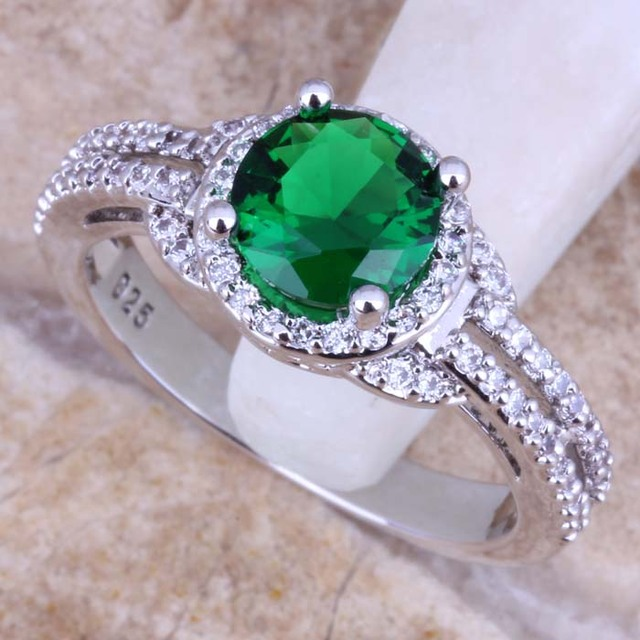 Pleasant Green Cubic Zirconia White CZ 925 Sterling Silver Ring For Women Size 5
