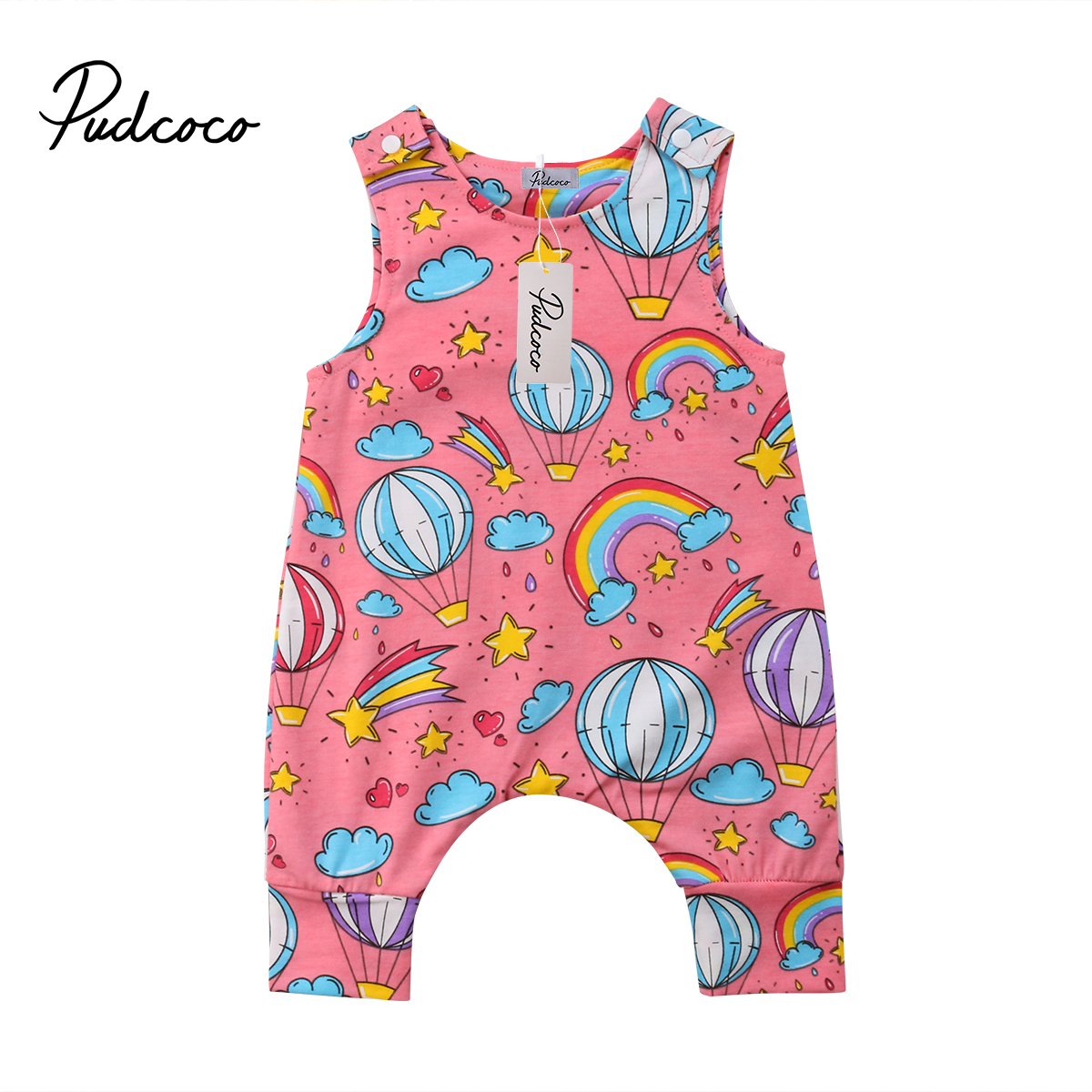 Cotton Newborn Baby Boy Girl Air Balloons Printing One-piece Romper Babies Sleeveless  Cartoon Playsuit Clothes Outfit