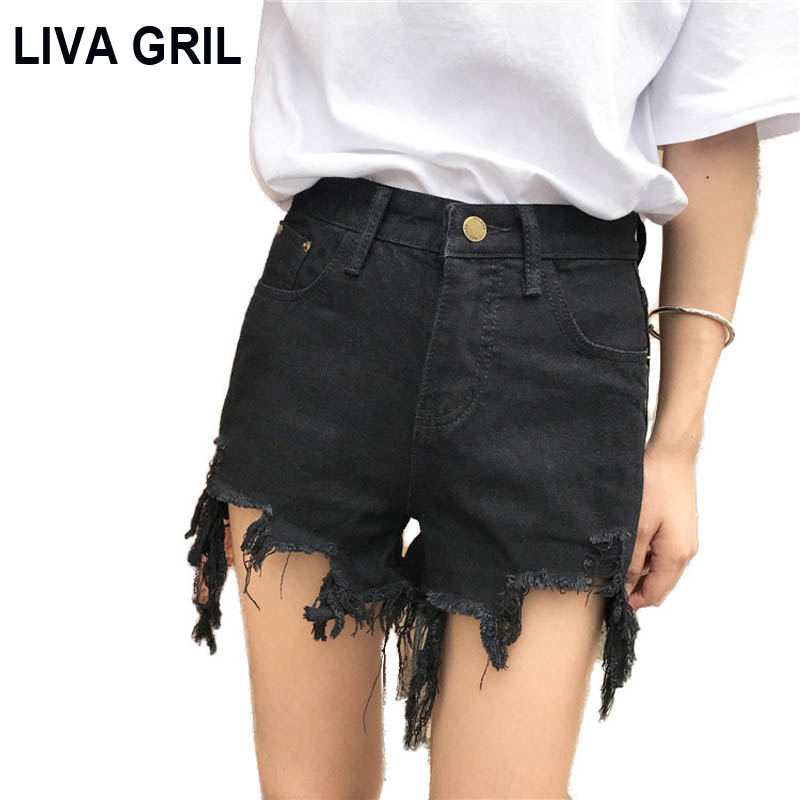 Liva Gril 2019 Summer Korean Wild Hole Grinding Irregular Slim Thin Hot Pants High Waist Hair Fringe Denim Shorts Female