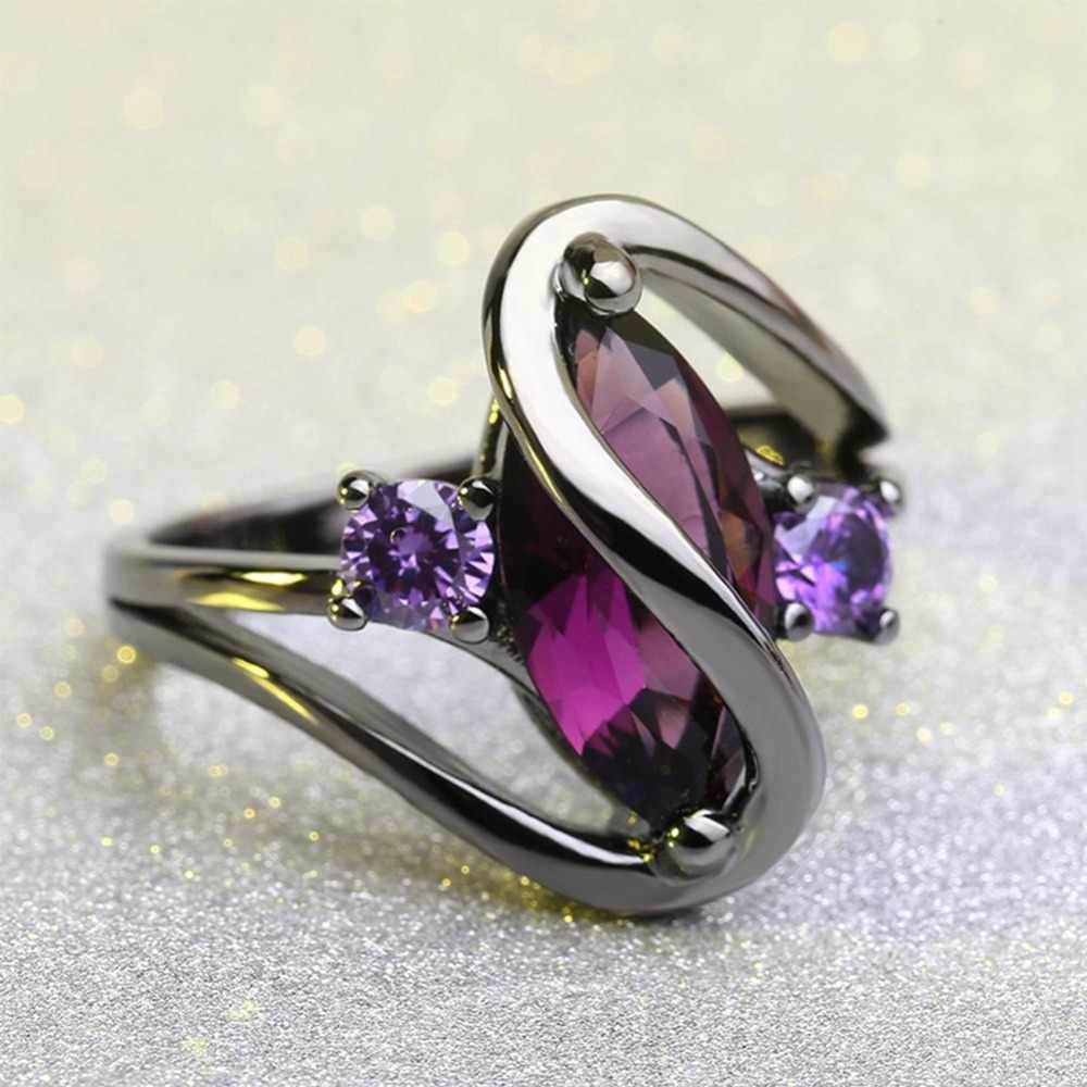 แฟชั่น VINTAGE Black Gold Marquise ตัดงบ WAVE แหวนผู้หญิง