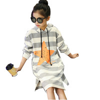 Girls Spring Autumn Striped Dress Kids Sports Casual Big Star Printed Clothing Long Sleeves Pullover Style With Hat Dresses