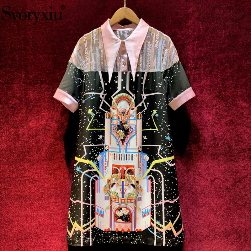 Svoryxiu Designer Summer Party Vintage Dress Women's Transparent Mesh Embroidery Patchwork Printed Beading Short Sleeve Dresses