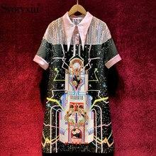 Svoryxiu projektant letnie Party sukienka vintage damska przezroczysta siateczka naszywane patchworkowe drukowane frezowanie sukienki z krótkim rękawem