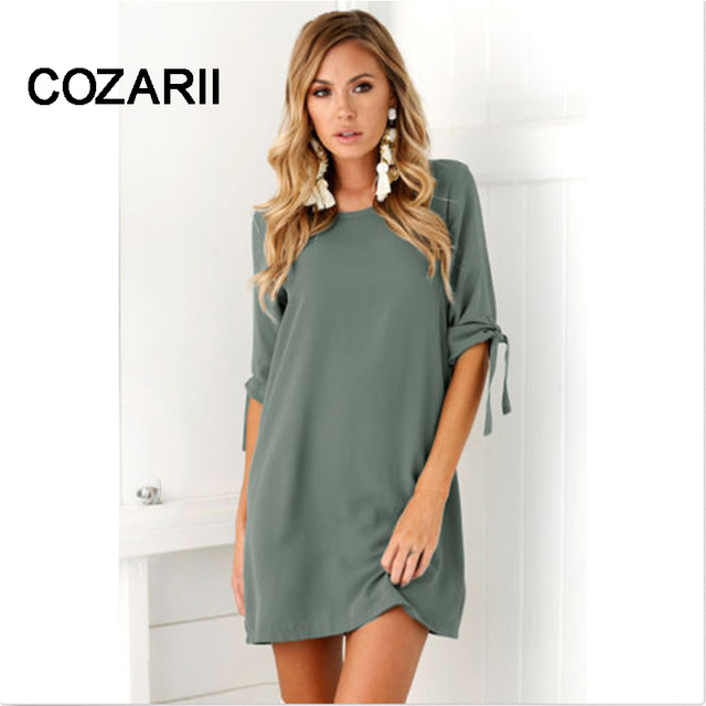COZARII Summer Dress 2018 Women's Short Sleeve Casual O-Neck Loose DressSolid color dress Beach Dresses Plus Size Vestidos