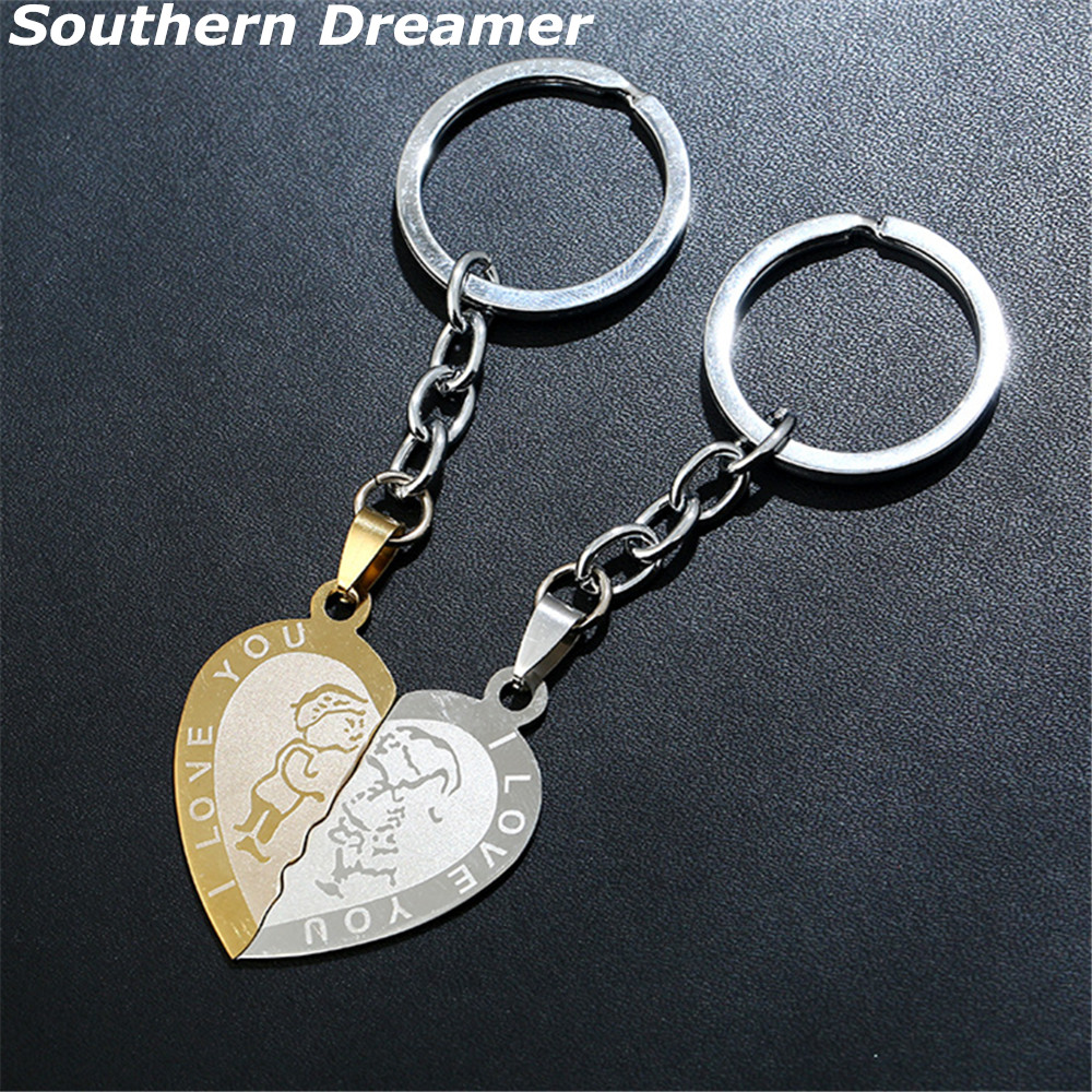 1 Pair Couple I LOVE YOU Letter Heart-shape Keychains Gold Stainless Steel Half Heart Key Chains For Lovers Porte Clef Souvenirs