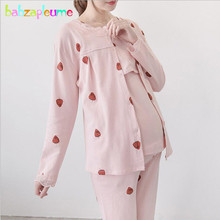 Pregnancy Nightwear Cotton Coat T shirt Pants Sleepwear Maternity Pyjama For Pregnant Sets Women Breast Feeding