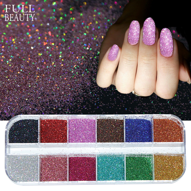 Full Beauty 12 Color/Box Nail Glitter Powder Laser Sequins For Nail ...