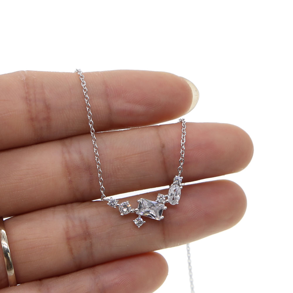 top quality cz cluster women gril lovely chain 100% 925 sterling silver stunning gift AAA white cz minmal delicate necklace 925