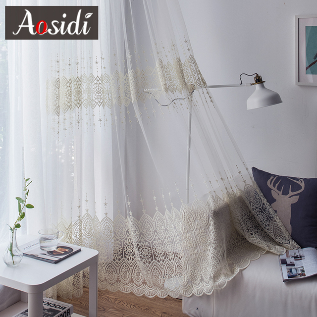Delicate Embroidered Tulle Curtains 3
