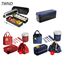 Japan style bento box plastic lunch boxes with bag creative tableware heat by microwavable