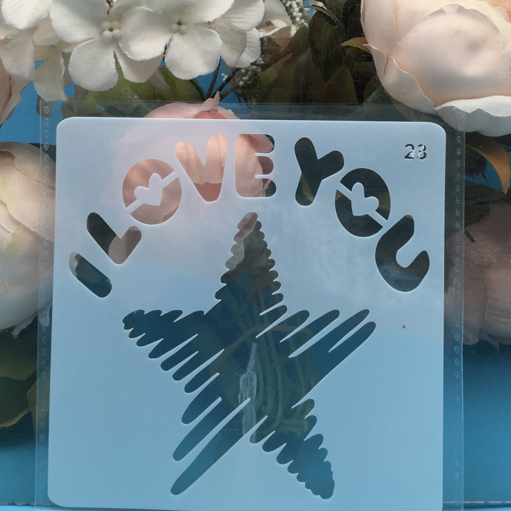 13cm Star I Love You DIY Layering Stencils Wall Painting Scrapbook Coloring Embossing Album Decorative Card Template