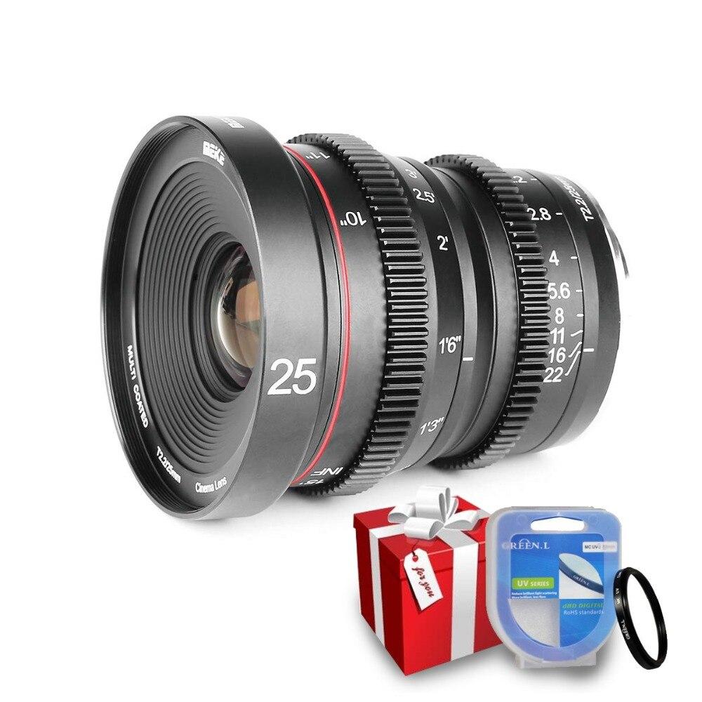 Meike 25mm T2.2 Retrato de Foco Manual Lente Cine para fuji X-Mount/Para Olympus Panasonic M4 /3 Mount X-Pro1 X-Pro2 X-E1 X-A1