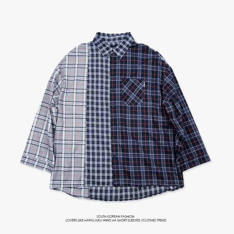 BTS Shirt BANGTANG BOYS Plaid Shirts Suga Long Sleeve Patchwork Loose Befree camisa masculina Fashion Shirt Men ropa hombre ...