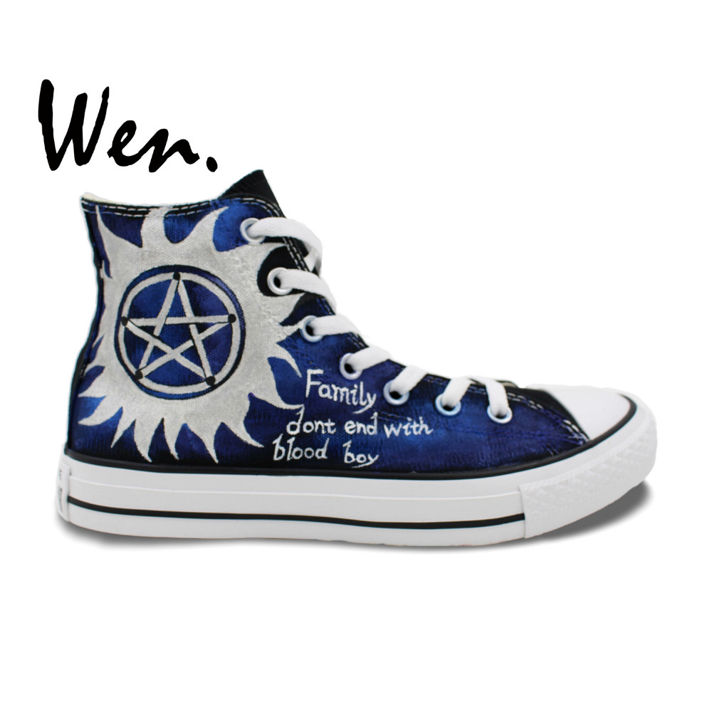 Wen Blue Hand Painted Shoes Custom Design Casual Shoes Supernatural High Top Canvas Sneakers for Women Men's Birthday Gifts wen blue hand painted shoes design custom shark in blue sea high top men women s canvas sneakers for birthday gifts