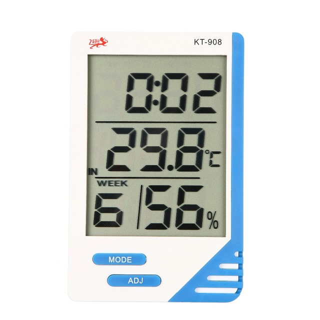 3 In 1 Digital 2.8 LCD Thermometer Hygrometer Temperature Humidity Tester Clock  Meter Indoor Outdoor In / Out Meter with Probe