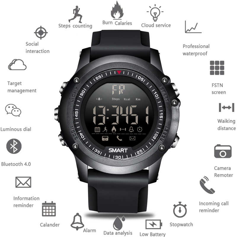 LIGE New Sports Smart Watch Men Multifunction Digital Clock Bluetooth Pedometer IP68 Waterproof Smart Electronic Watches+Box