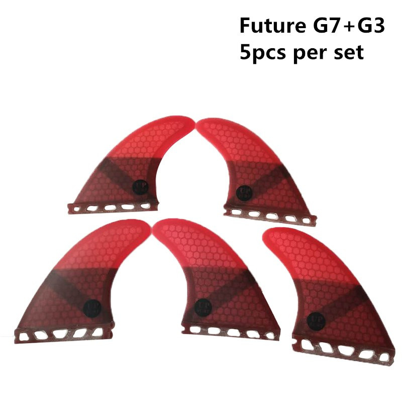 Surf Future Fin G3+G7 Surfboard Fins Red Color Fiberglass Honeycomb Tri-Quad Fins Quilhas Thruster 5 Fin Set