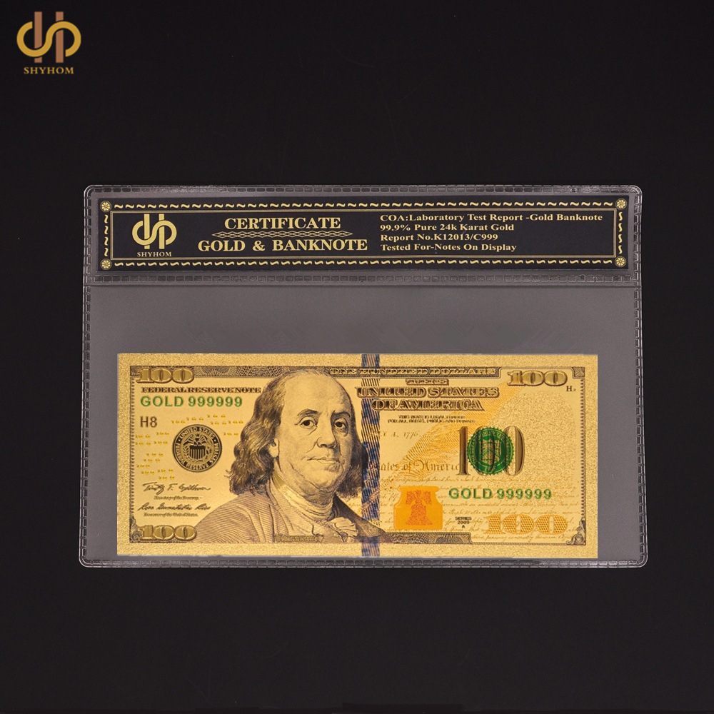 American Gold Dollar $100 Color Banknote Golden Foil Money UNC Bill With COA Holder