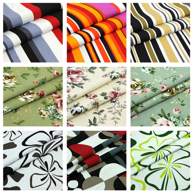 2meter lot 150cm width100 cotton canvas fabric print flower stripe material for sofa curtain