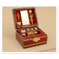 Novelty Mini 1 12 Scale Mini Wooden Jewelry Box Accessories For Doll Toys Miniature Dollhouse Accessories