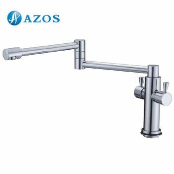 AZOS Kitchen Sink Tap Brass Single Hole Deck Mount Chrome Polish Folding Free Rotatable Single Cold Water CFLR037