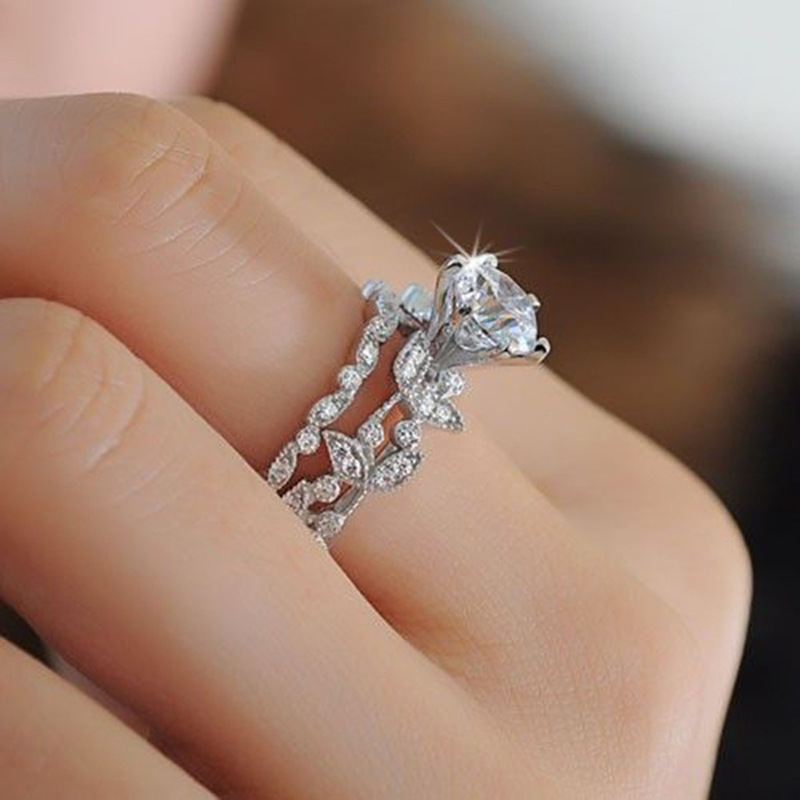 Handmade Flower style ring set 5A zircon Cz 925 Sterling silver Engagement wedding band ring for women fashion jewelry Gift
