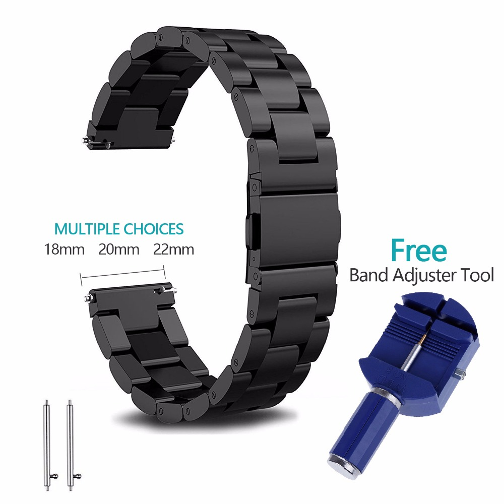 18mm 20mm 22mm Stainless Steel Watch Band Strap For Samsung Gear S2 S3 smart watch Link bracelet black for Samsung Gear S2 watch band 20mm 22mm black silver stainless steel watch band strap straight end bracelet for smart watch gear s3 matte unpolish