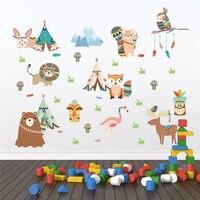 Grappige Dieren Indian Tribe Muurstickers Voor Kinderen Kamers Home Decor Cartoon Uil Leeuw Beer Vos Muurstickers Pvc Muurschildering art