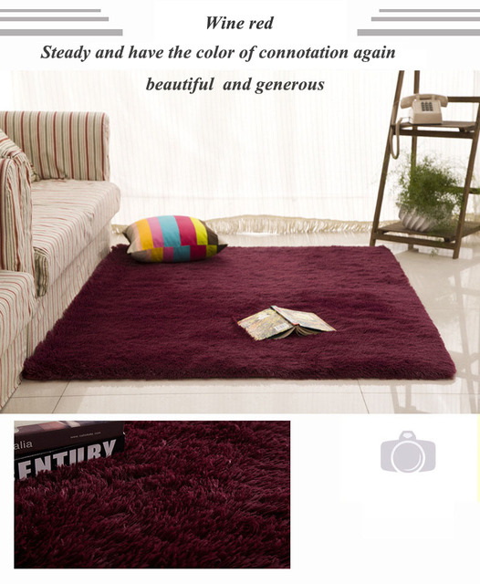 California Premium Shag Collectionwine Red Square Area Rug Thick Anti Slip Large Floor Carpets For
