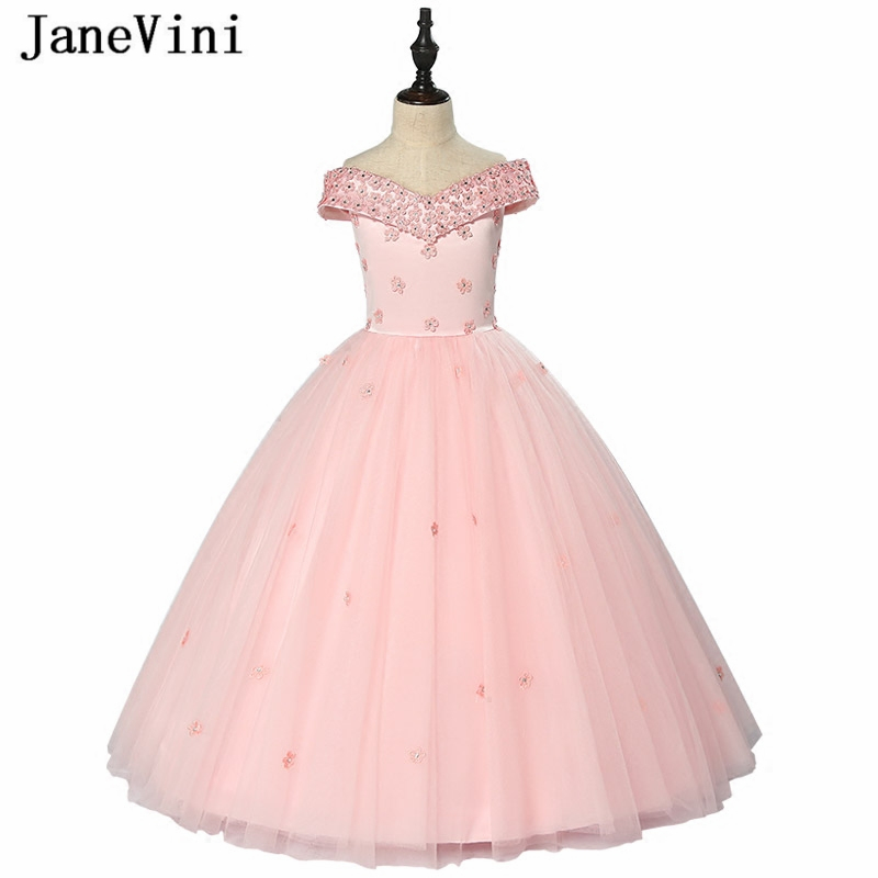 JaneVini Charming Pink Tulle   Flower     Girl     Dresses   for Weddings V Neck Appliques Beaded Ball Gown Floor Length   Girls   Pageant Gowns