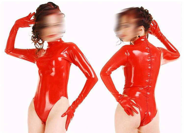 Fashion Women Hot Red Latex Catsuit Sexy Clubwear Rubber Clothes For Girls Plus Size Hot Sale hot sale red mini r