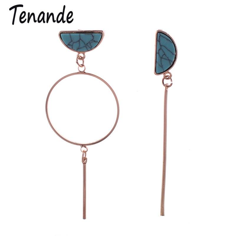 Tenande Vintage Gold Color Long Natural Stone Bead Irregular Pattern Semicircular Stripe Drop Earrings for Women Hanging Jewelry
