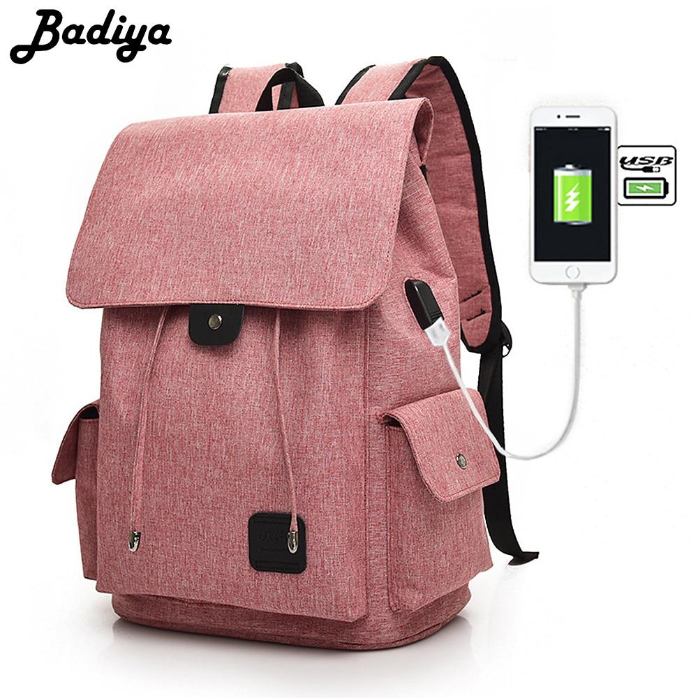 Badiya Brand Elegant Solid Backpack Men Women Canvas Travel Bags Unisex 15.6 inch USB Charging Laptop Shoulder Bags mochila sica нч 15bp3sl 4 ohm