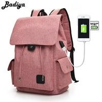 Badiya Brand Elegant Solid Backpack Men Women Canvas Travel Bags Unisex 15 6 Inch USB Charging