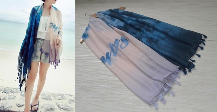 b2a0881be23a 2014 automne mode pour les femmes, Tie - teinture écharpe, Hiver châle,  Muslin hijab, Bandana, Châles et foulards, Desigual, Coton châle