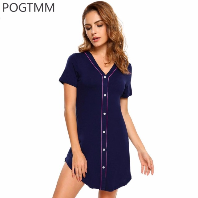 67f1a314fd Summer Fashion Women Cotton Night Gown Short Sleeve Button Nightwear Sexy  Sleepdress Sleepwear Black Sleep Shirt Lounge Clothes